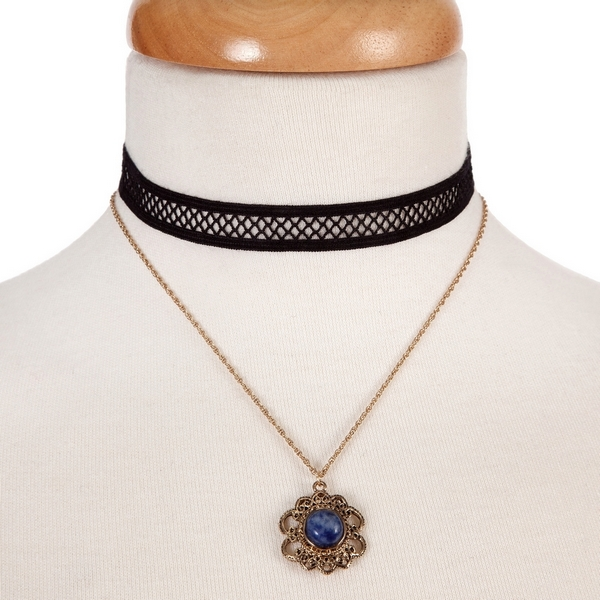 "Black and gold tone, double layer choker with a flower pendant, accented by a blue stone. Approximately 12"" in length."
