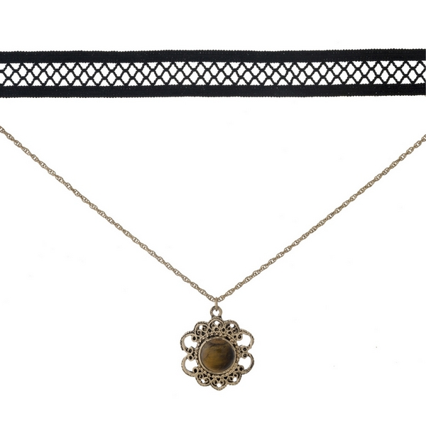 """Black and gold tone, double layer choker with a flower pendant, accented by a brown stone. Approximately 12"""" in length."""