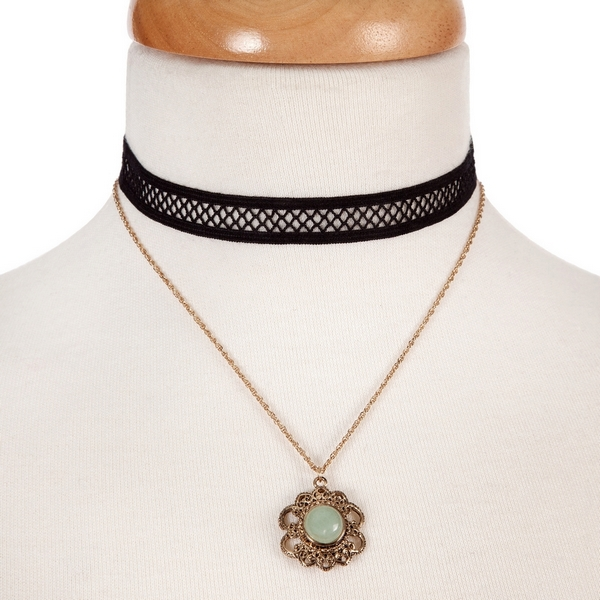 """Black and gold tone, double layer choker with a flower pendant, accented by a green stone. Approximately 12"""" in length."""