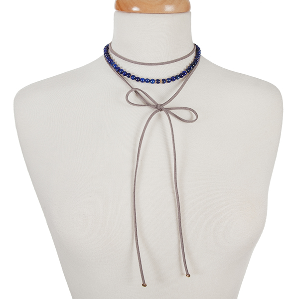"""Gray faux suede and blue natural stone, beaded wrap choker with gold tone accents. Approximately 12"""" in length."""