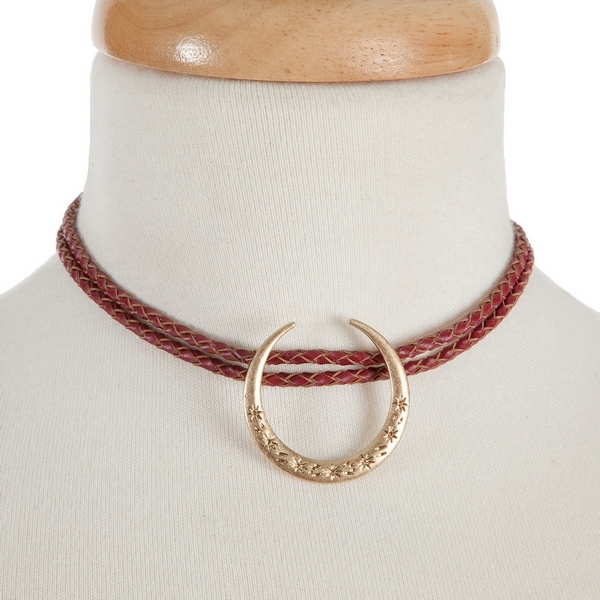 """Burgundy braided cord, double layer choker with a gold tone crescent focal. Approximately 12"""" in length."""