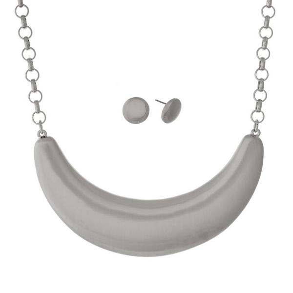Wholesale silver necklace set brushed half circle pendant