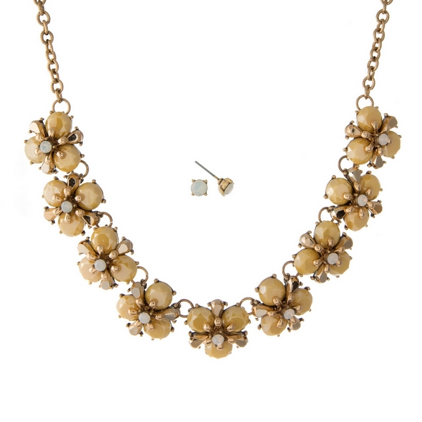 """Burnished gold tone necklace set with yellow stone flowers and matching stud earrings. Approximately 16"""" in length."""