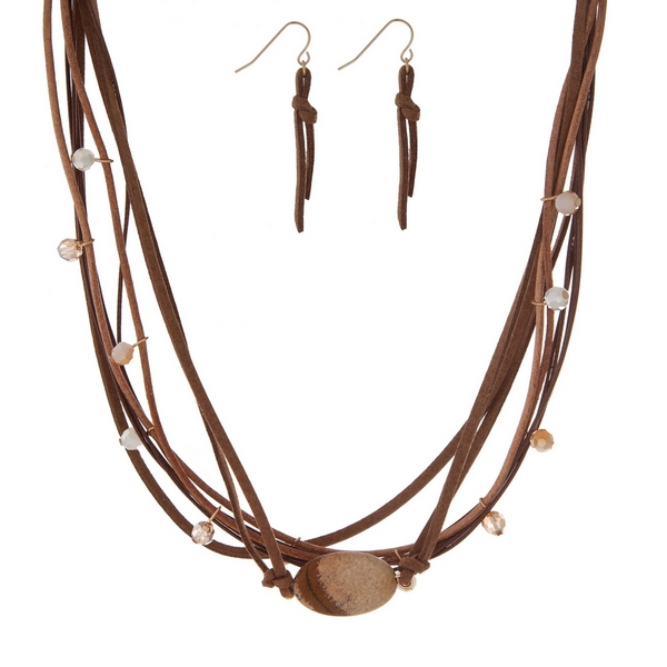 """Brown cord necklace set with a beige semi-precious stone and matching fishhook earrings. Approximately 16"""" in length."""
