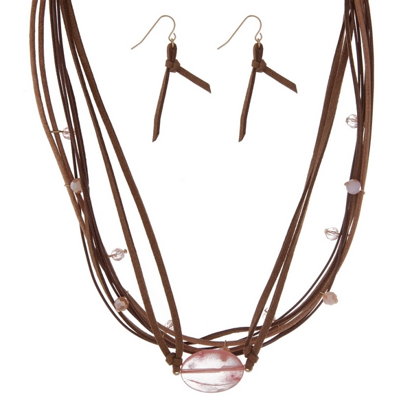 """Brown cord necklace set with a pink semi-precious stone and matching fishhook earrings. Approximately 16"""" in length."""