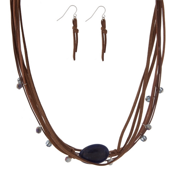 """Brown cord necklace set with a navy blue semi-precious stone and matching fishhook earrings. Approximately 16"""" in length."""