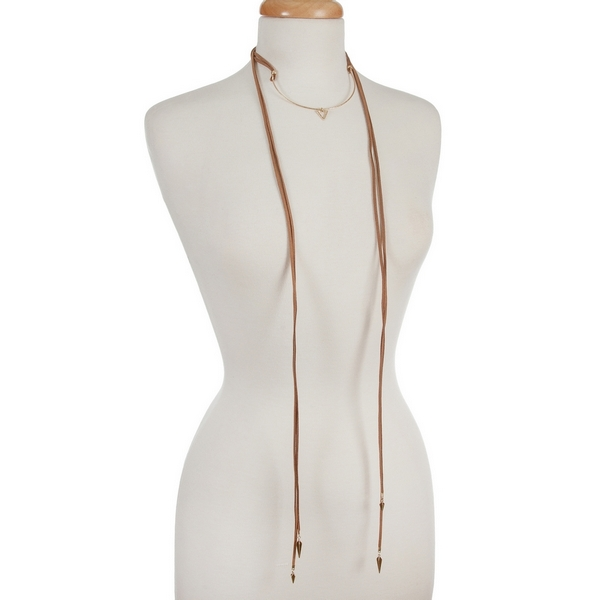 """Brown, faux suede wrap choker necklace with gold tone accents and a triangle pendant. Approximately 12"""" in length."""