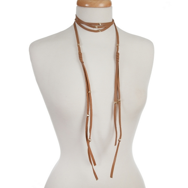"""Brown, faux leather wrap necklace with gold tone beaded accents. Approximately 84"""" in length."""