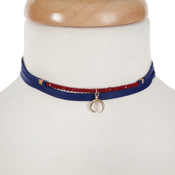 """Blue wrap choker necklace with crimson beads and a crescent pendant. Approximately 60"""" in length."""