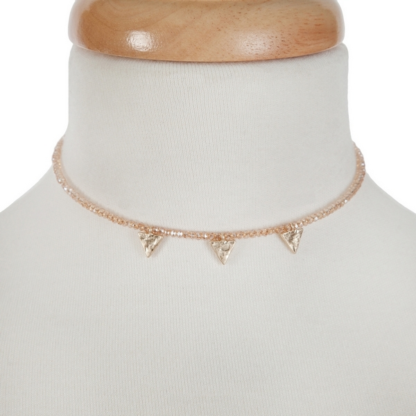 """Topaz beaded wire choker with a hammered triangle charms and a 3"""" extender."""