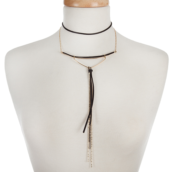 """Gold tone and black faux suede choker with a beaded tassel accent. Approximately 12"""" in length."""