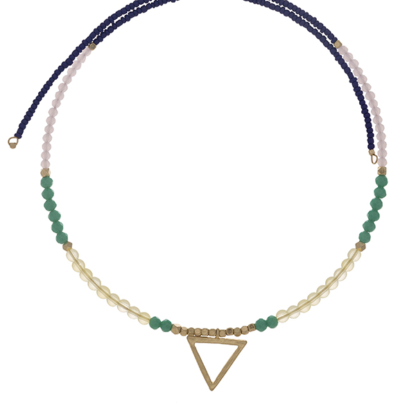 Royal blue and mint beaded memory wire choker with gold tone accents and a triangle pendant. Choker does not close, so it can fit up to almost any size.