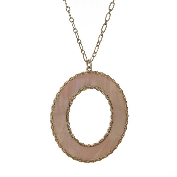 Wholesale gold necklace peach open circle pendant