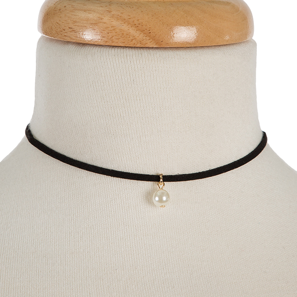 "Black faux suede choker with a pearl bead pendant. Approximately 12"" in length."
