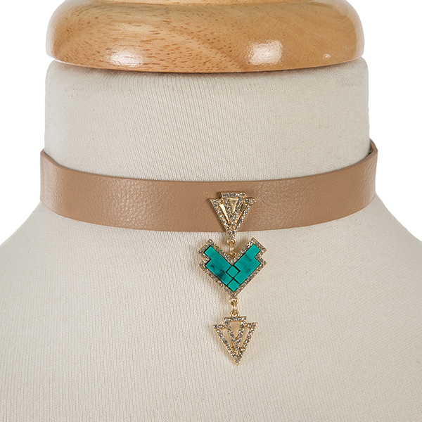 """Brown faux leather choker with a turquoise and gold tone focal. Approximately 12"""" in length."""