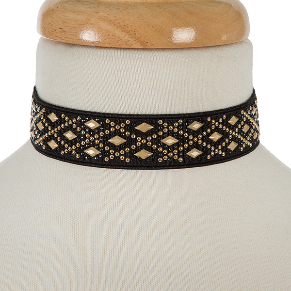 """Black and gold tone elastic choker. Approximately 12"""" in length and 1.25"""" in width."""
