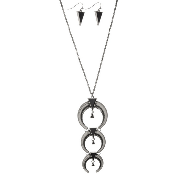 """Silver tone necklace set with a three part crescent pendant and matching fishhook earrings. Approximately 32"""" in length."""