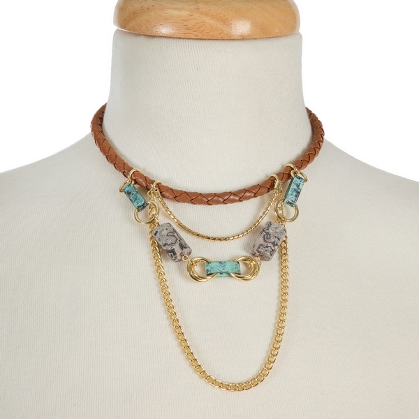 "Brown, braided, faux leather choker with gold tone accents and turquoise beads. Approximately 12"" in length."