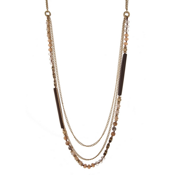 """Gold tone layered necklace with brown, topaz, and champagne faceted and natural stone beads. Approximately 32"""" in length."""