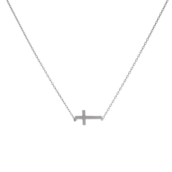 "Dainty East West Cross Necklace.  - Pendant 8mm - Approximately 16"" Long  - 2"" Adjustable Extender"