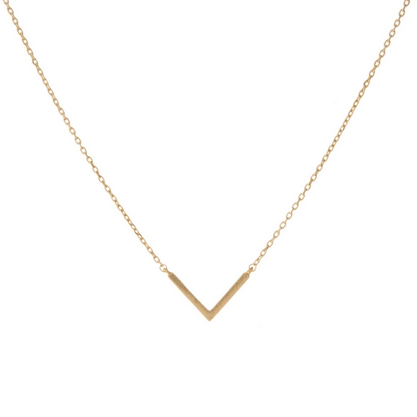 "Dainty gold tone necklace featuring a small geometric pendant shaped in a 'V'. Length adjusts from 16""-18""."