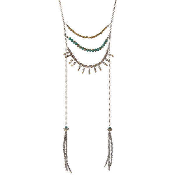 "Silver tone necklace featuring three rows of turquoise, gold tone, and gray beads with two gray beaded tassels. Approximately 20"" in length with the two chains extending an additional 9"" in length."