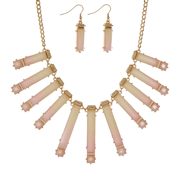 """Gold tone necklace featuring ivory to pink ombre stones and matching fishhook earrings. Approximately 18"""" in length."""