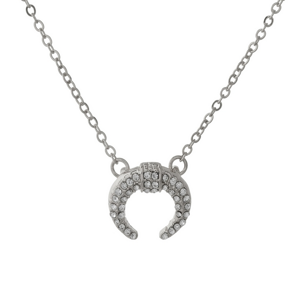 """Dainty silver tone necklace with a crescent pendant. Approximately 16"""" in length."""