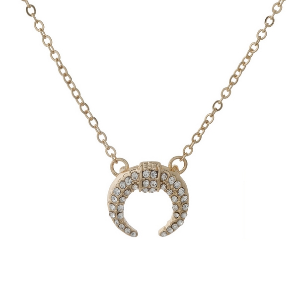 """Dainty gold tone necklace with a crescent pendant. Approximately 16"""" in length."""