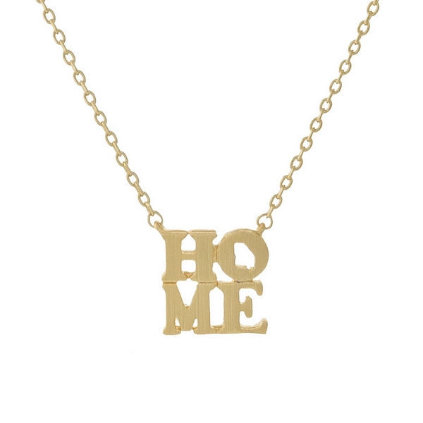 """Gold tone necklace displaying a """"HOME"""" pendant with the state shape of Georgia in the 'O' of the pendant. Approximately 16"""" in length."""
