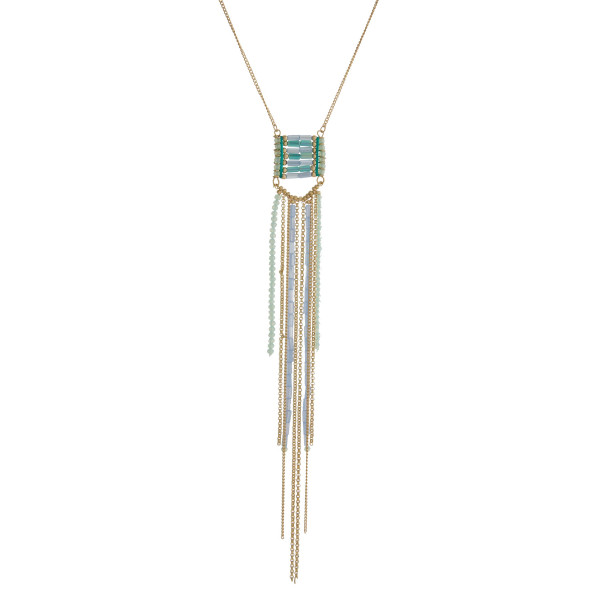"Gold tone necklace with a mint green and blue beaded tassel pendant. Approximately 30"" in length."