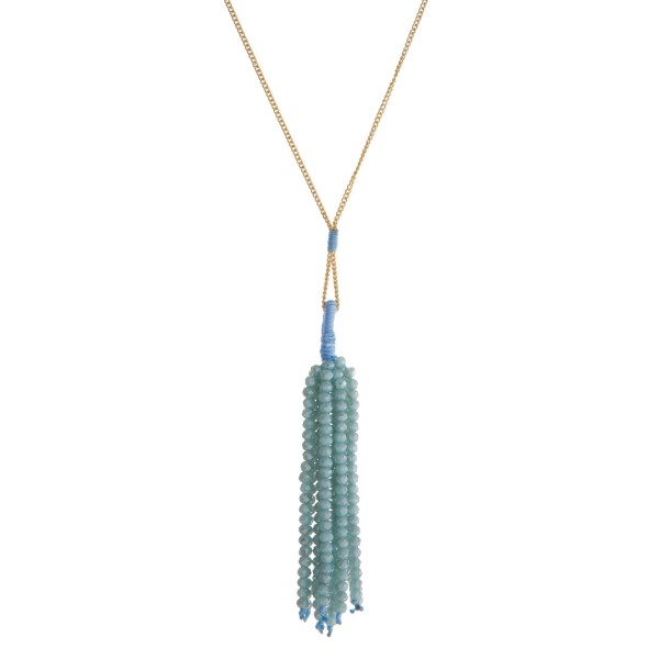 Wholesale dainty gold necklace aqua faceted bead tassel