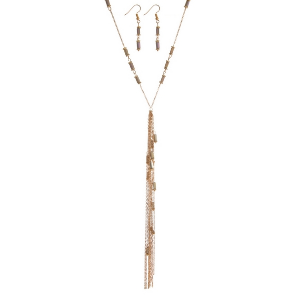 """Gold tone necklace set featuring gray beads, a chain tassel and matching fishhook earrings. Approximately 34"""" in length."""