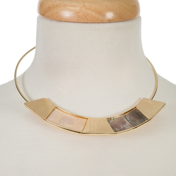 """Gold tone memory wire choker featuring mother of pearl and abalone. Approximately 5.5"""" in diameter."""