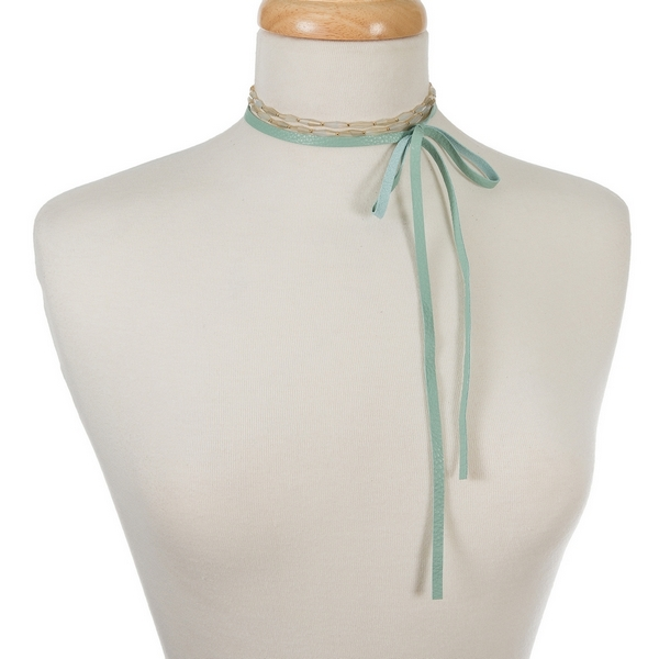 """Mint green genuine leather wrap necklace featuring opal beads and gold tone accents. Approximately 60"""" in length."""