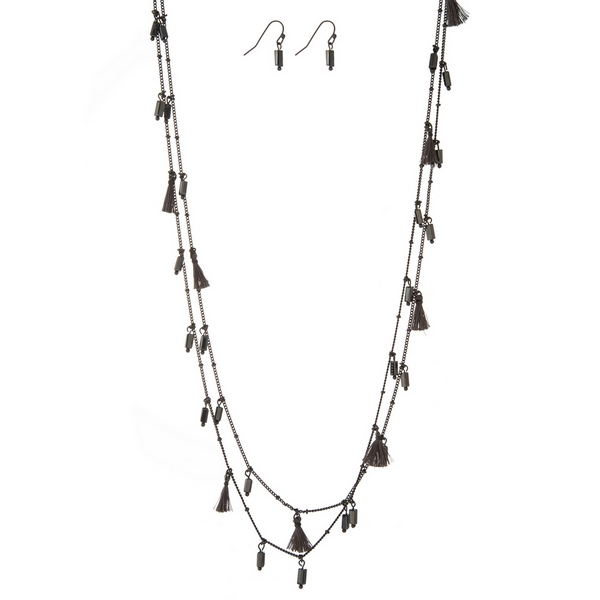 """Hematite tone wrap necklace set with gray tassels and beads and matching fishhook earrings. Approximately 60"""" in length."""