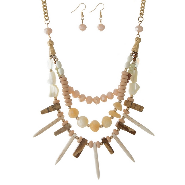"""Gold tone necklace set with layers of ivory, blush and picture jasper stones and matching fishhook earrings. Approximately 18"""" in length."""