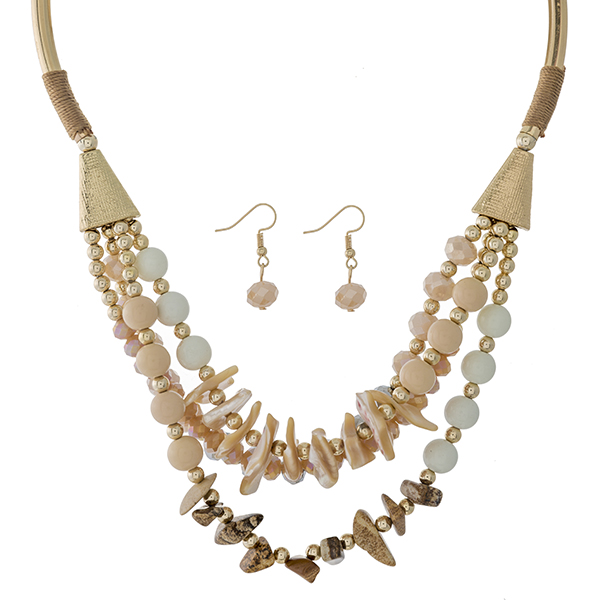 """Gold tone statement necklace set with multiple rows of ivory, gray, blush and picture jasper beads. Approximately 16"""" in length."""