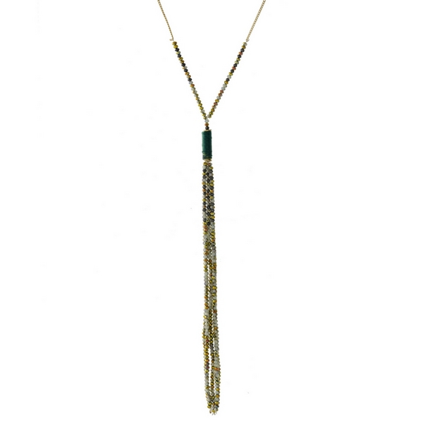 """Gold tone necklace with a green beaded tassel and thread wrapped accent. Approximately 32"""" in length."""