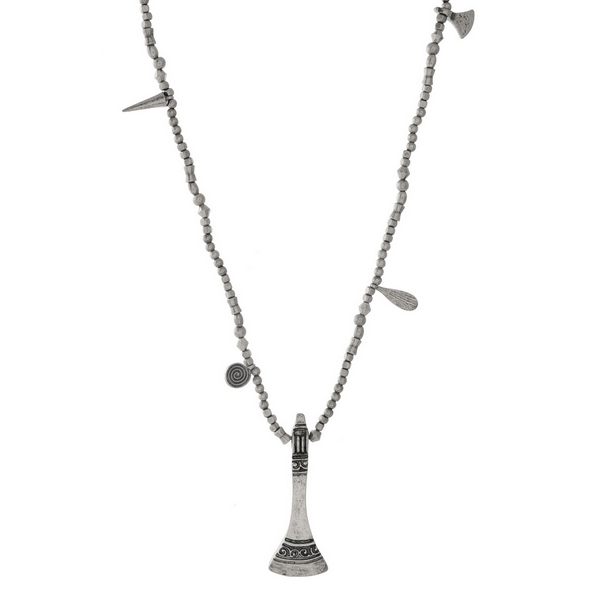 """Silver tone necklace with stamped metal charm pendants. Approximately 32"""" in length."""