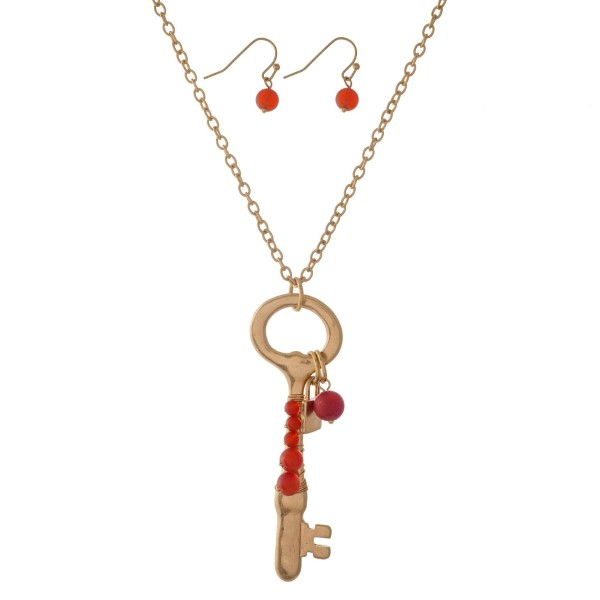 Wholesale gold necklace key pendant wire wrapped natural stone beads