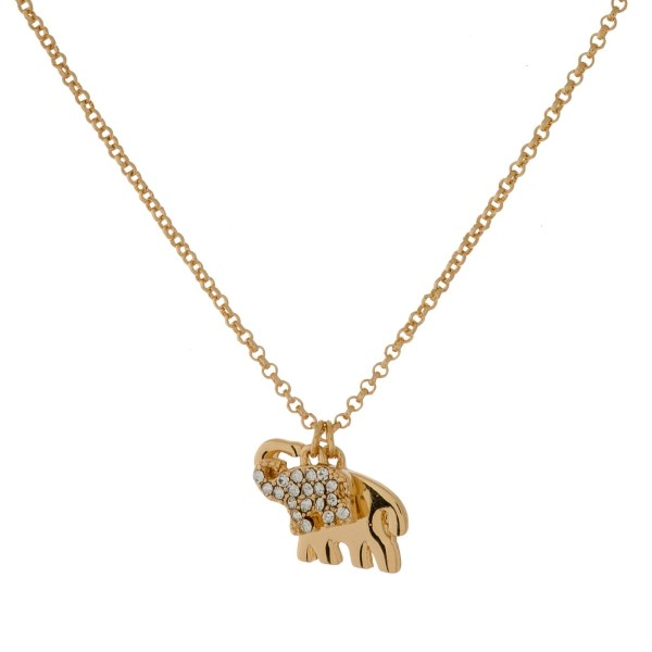 """Dainty, metal necklace set with two elephant pendants. Approximately 16"""" in length."""