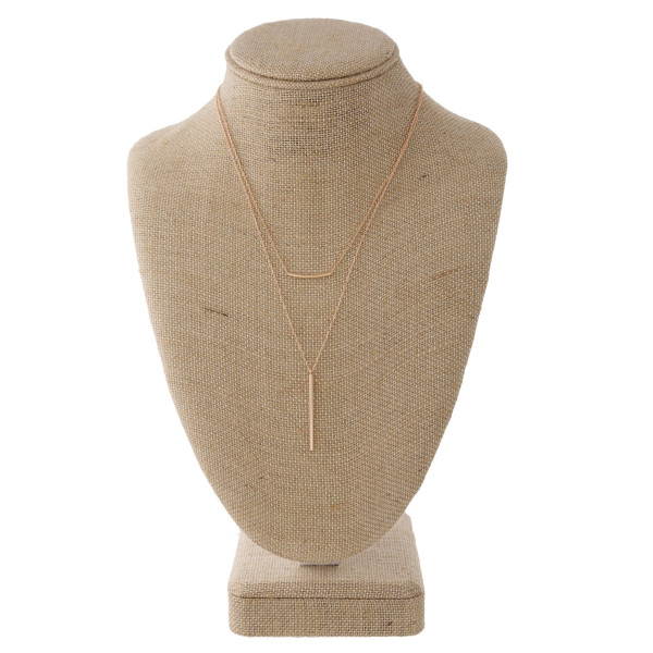"Layered Bar Necklace.  - Approximately 16-20"" Long - 3"" Adjustable Extender"