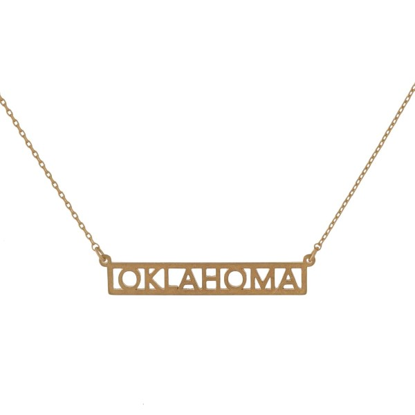 """Dainty necklace with a bar pendant, stamped with state cut-outs. Approximately 16"""" in length."""