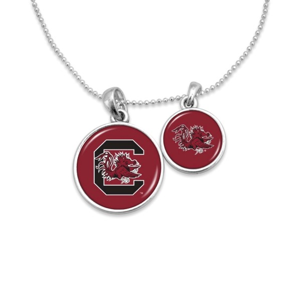 "Officially licensed, silver tone necklace with two pendants and university logo. Approximately 16"" in length."