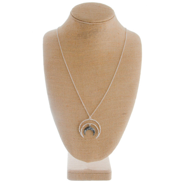 """Short earring and necklace set with half moon pendant. Approximate 32"""" in length with 1"""" pendant."""