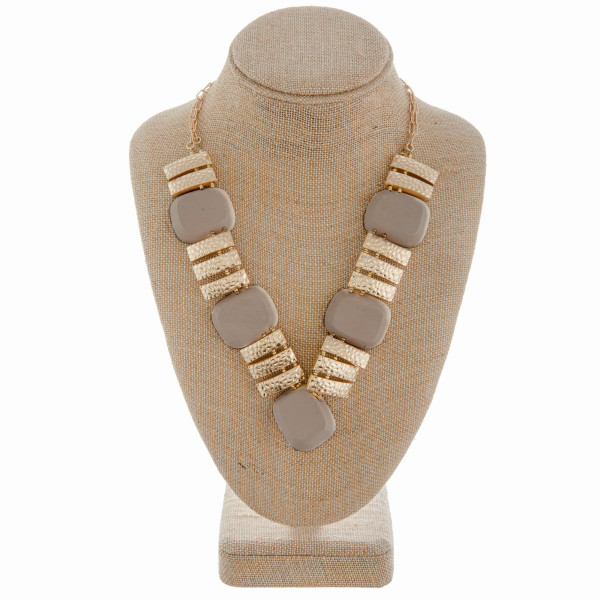 Wholesale long V necklace wood metal detail Approximate