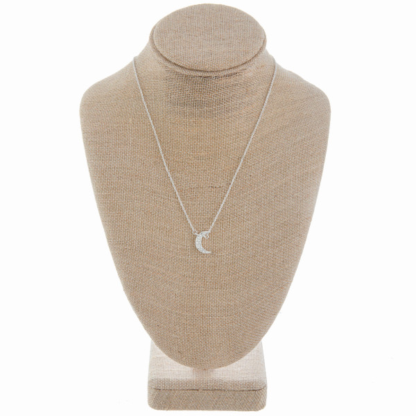 """Gorgeous metal necklace with rhinestones. Pick up a pair of matching earrings. Approximate 16"""" in length with 2cm pendant."""