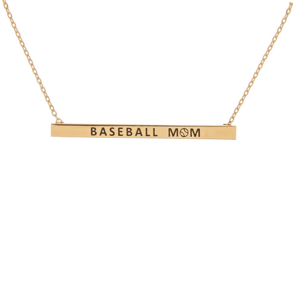 """Long metal necklace with """"Baseball Mom"""" message. Approximate 16"""" in length."""