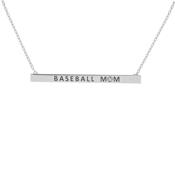 "Long metal necklace with ""Baseball Mom"" message. Approximate 16"" in length."